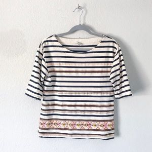 {J. Crew} Striped Aztec Embroidered Top